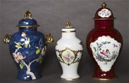 Group of Three French Covered Porcelain Baluster