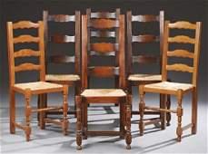 Set of Six French Provincial Carved Oak Ladderback
