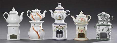 Five French Porcelain Veilleures early 20th c