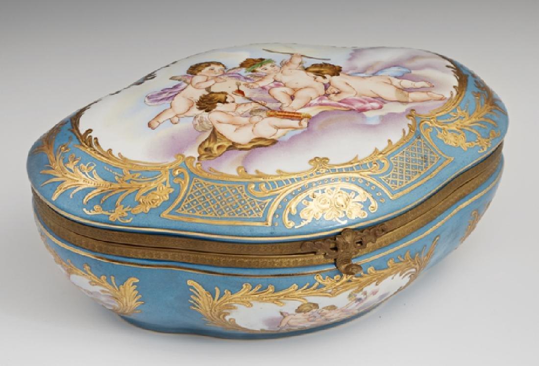 Sevres Style Porcelain Dresser Box, 20th c., of shaped