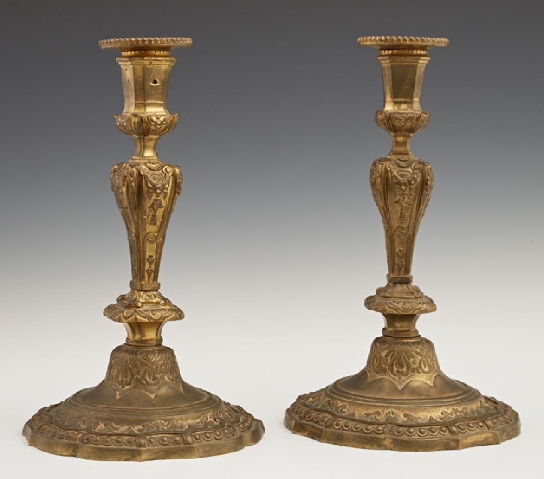 Pair of French Louis XV Style Gilt Bronze Candlesticks,