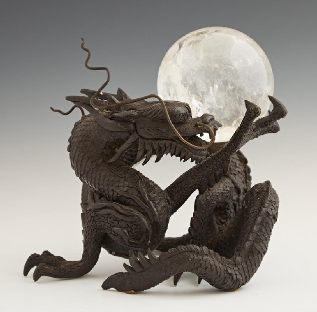 Chinese Bronze Dragon, early 20th c., holding a rock