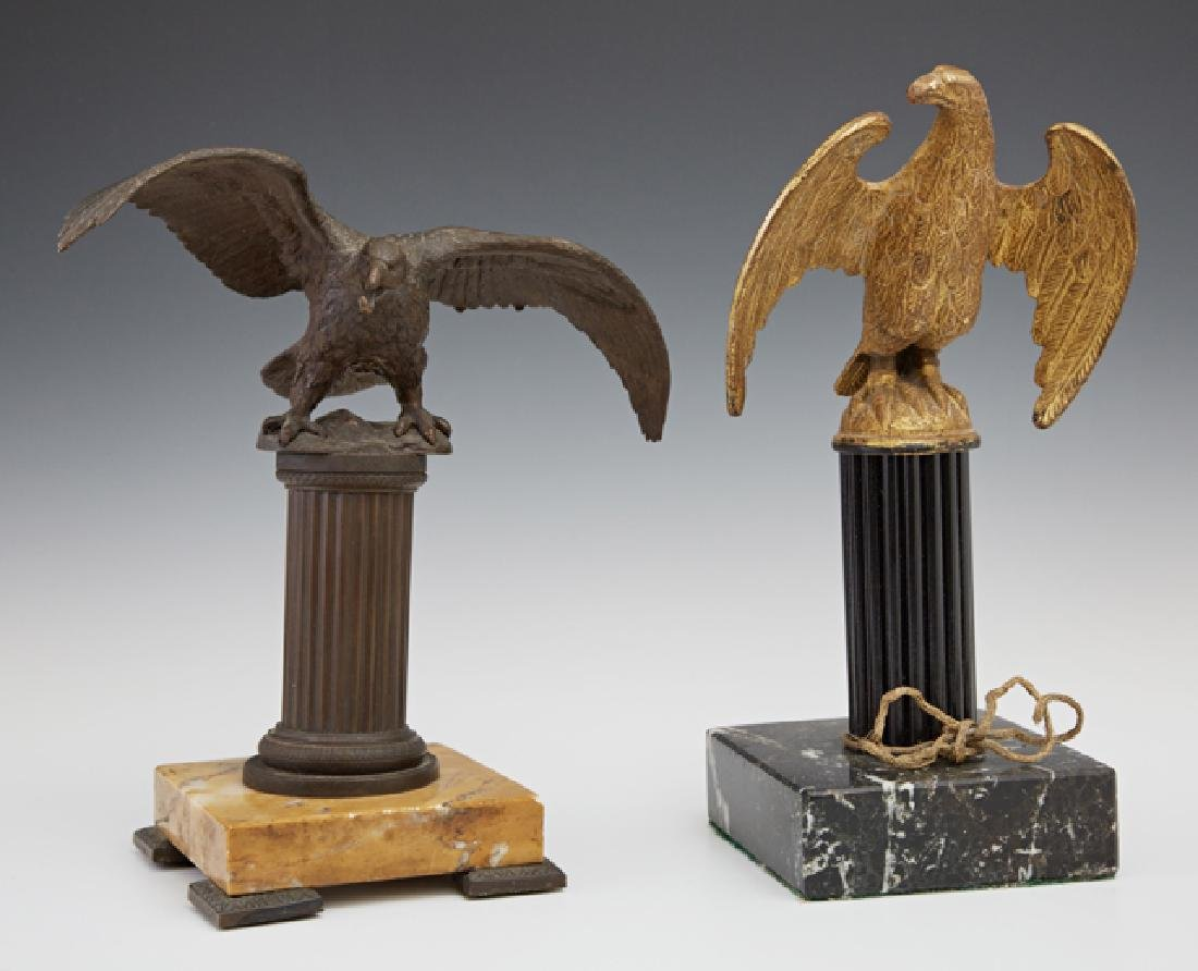 Two Bronze Eagle Figures, 19th c., one a watch holder
