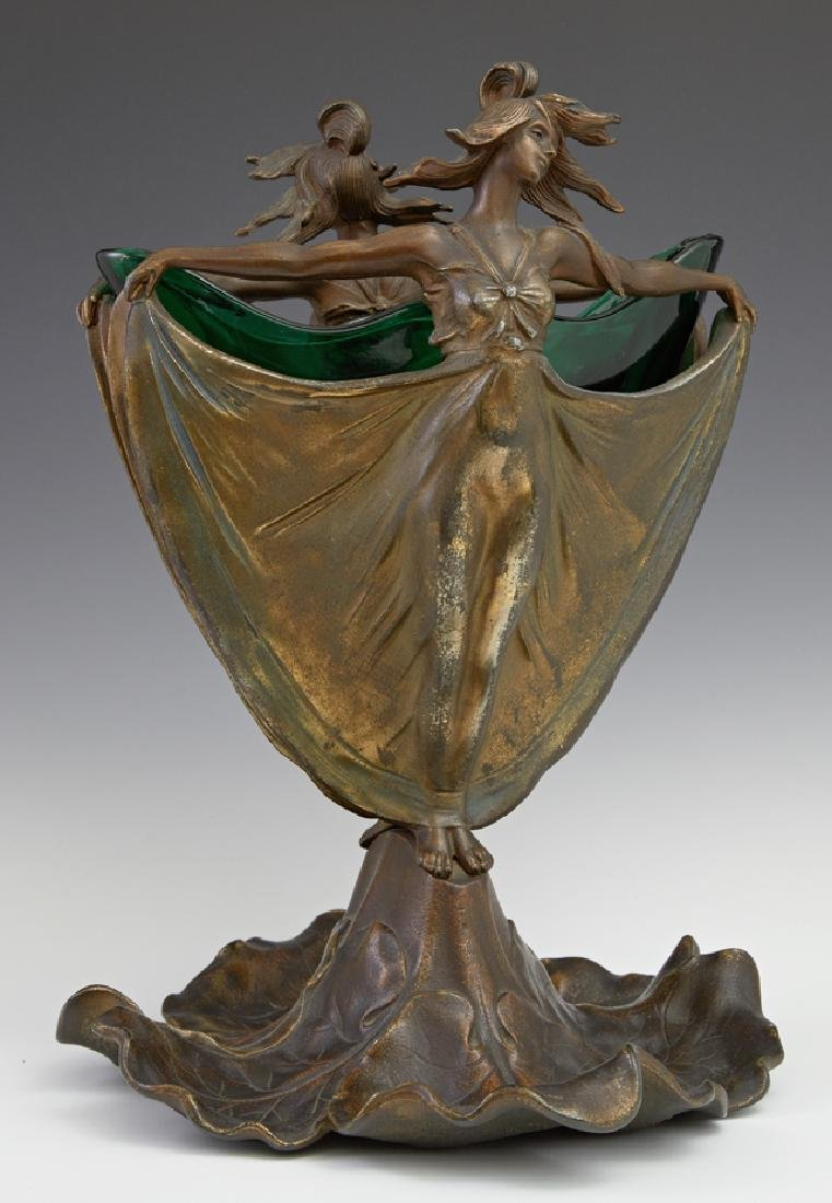 Patinated Spelter Art Nouveau Figural Vase, early 20th