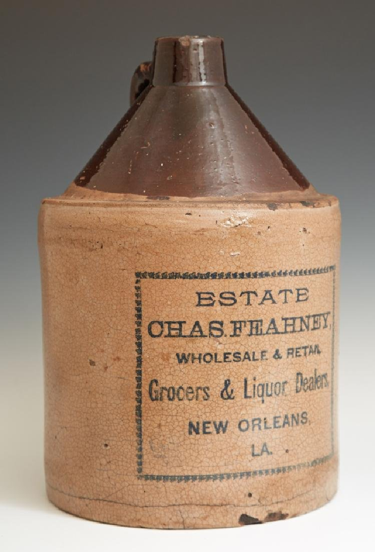 """New Orleans Stoneware Jug, 19th c., labeled """"Estate"""