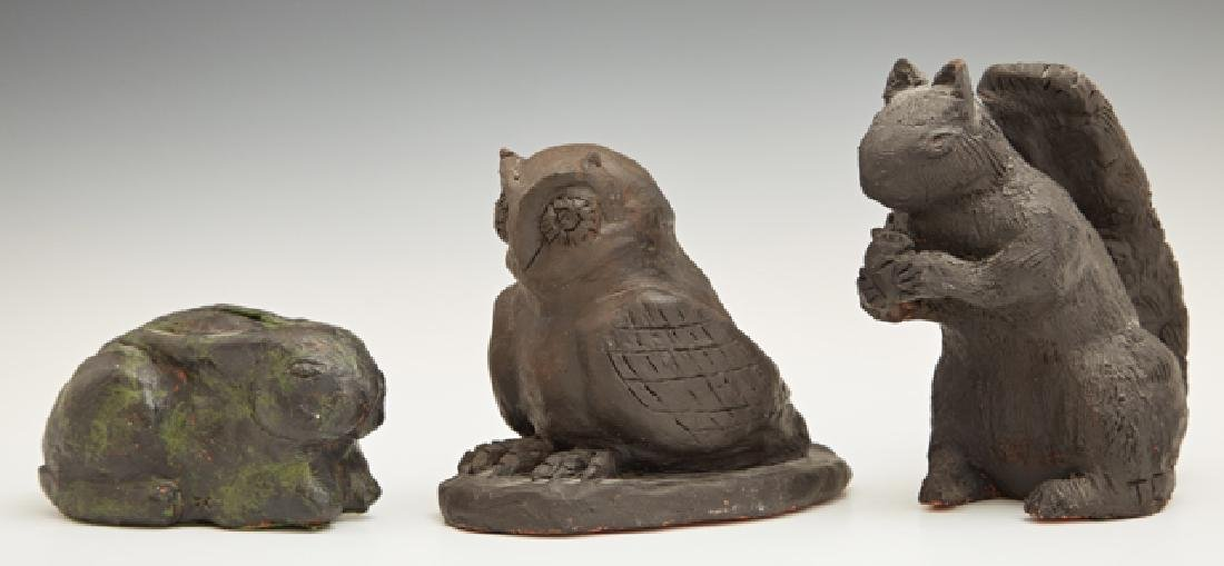 Group of Three Ebonized Terracotta Animals, 20th c.,