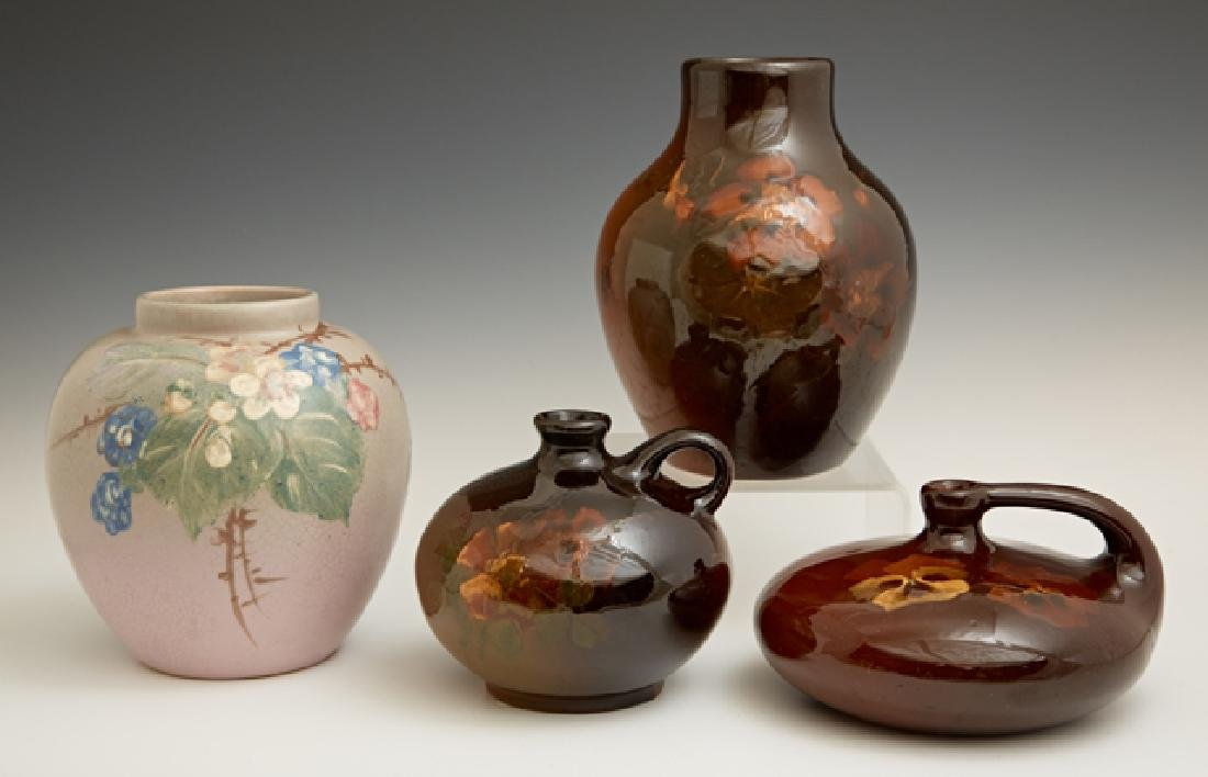 Group of Four Weller Vases, 20th c., three in brown