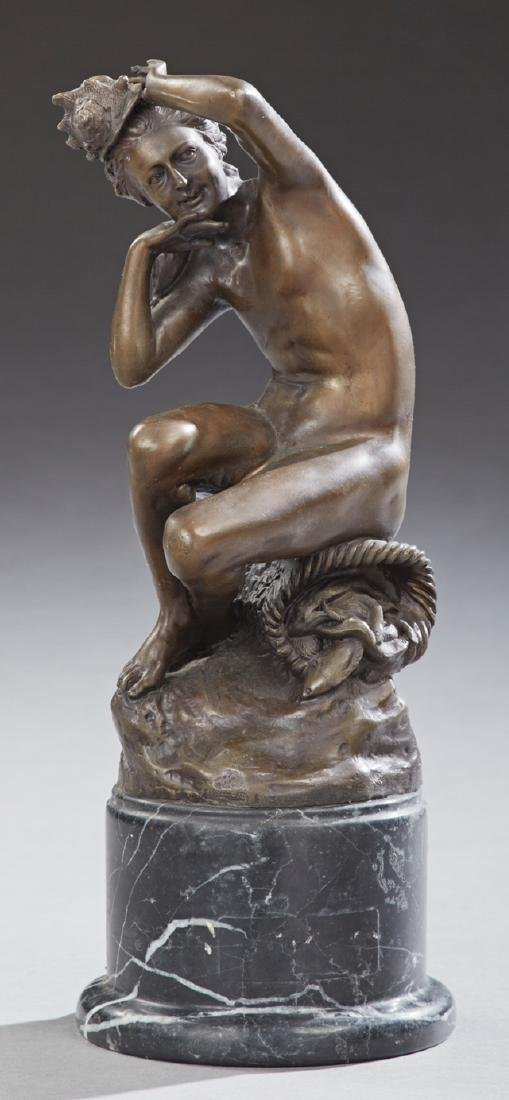 Patinated Bronze Sea Nymph, 20th c., with a conch shell