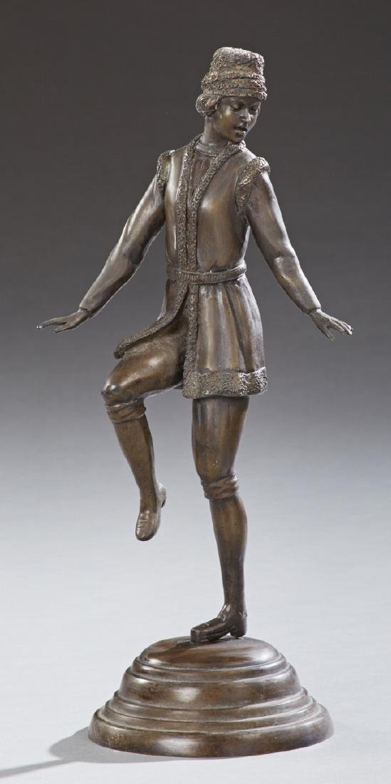 Patinated Bronze of a Male Dancer, 20th c., on a