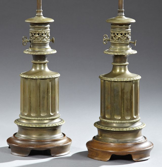 Pair of Victorian Brass Oil Lamps, late 19th c., of