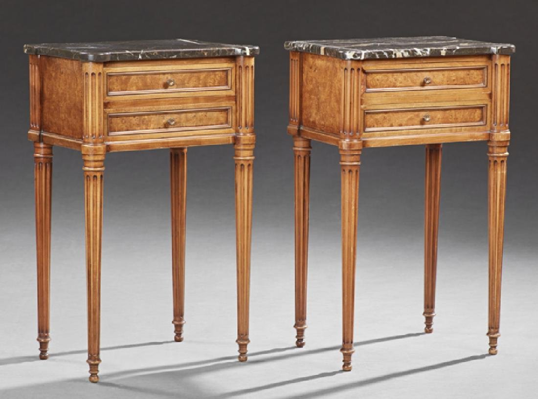 Pair of French Louis XVI Style Burled Walnut Marble Top