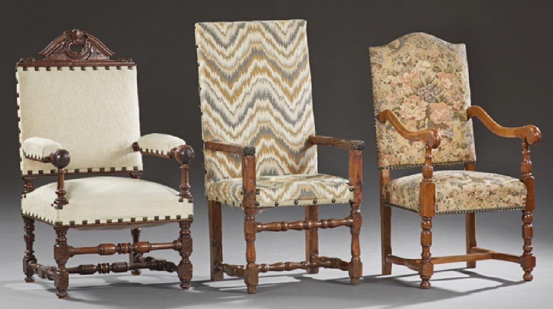 Group of Three French Louis XIII Style Fauteuils, early