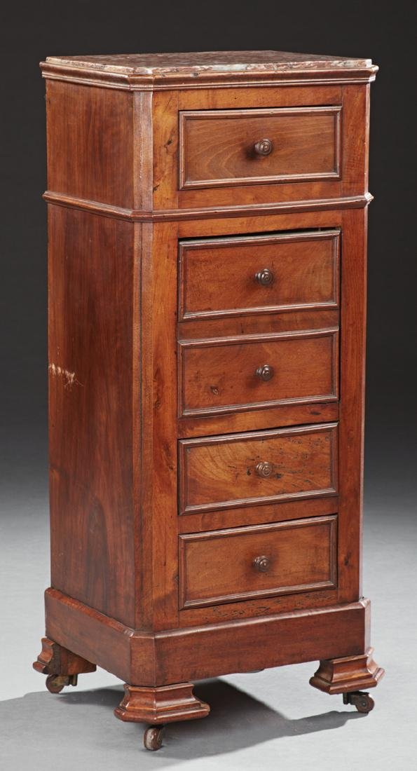 Louis Philippe Carved Walnut Marble Top Nightstand,