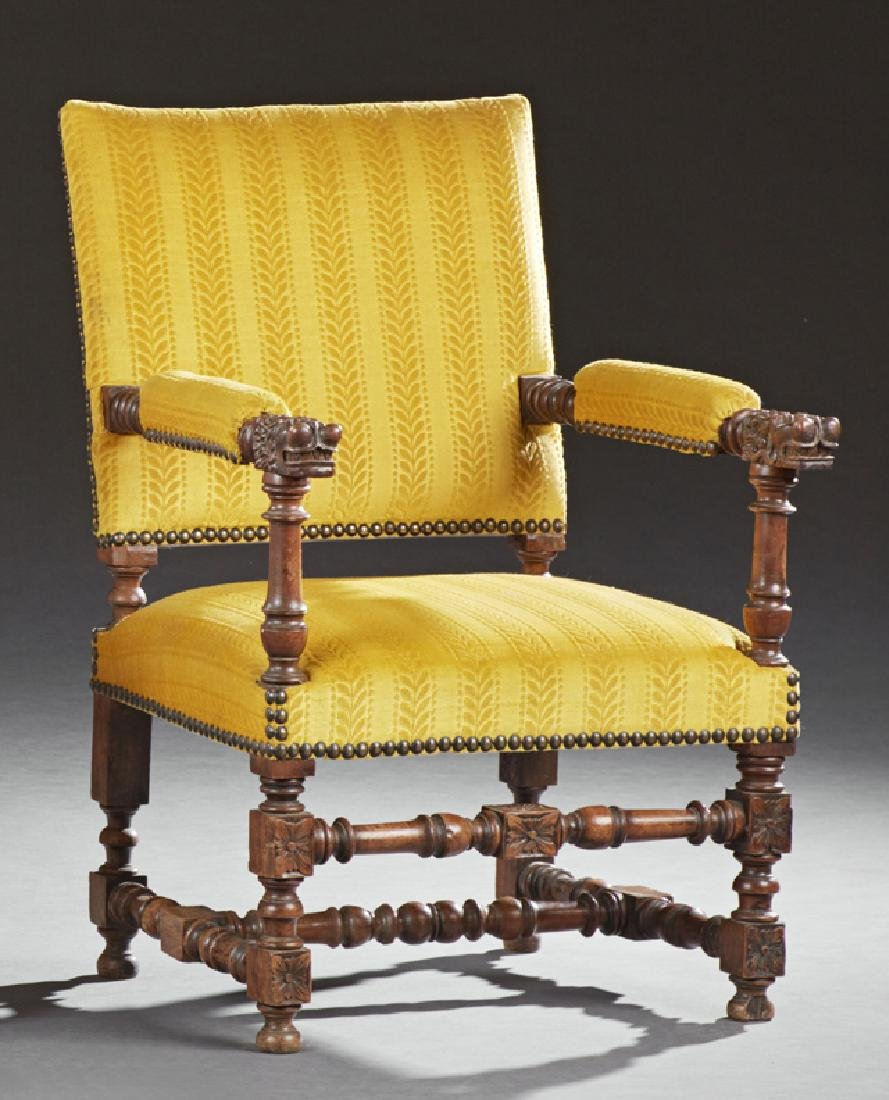 French Carved Walnut Renaissance Style Fauteuil, early
