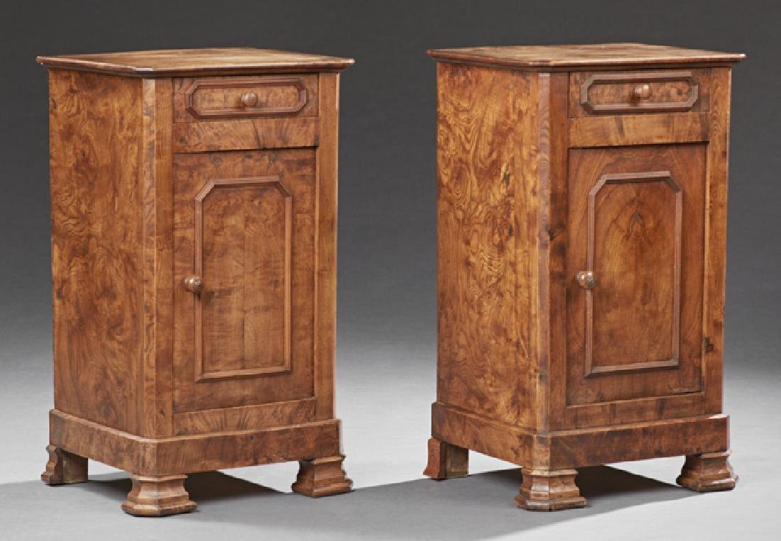 Pair of Louis Philippe Style Carved Elm Nightstands,