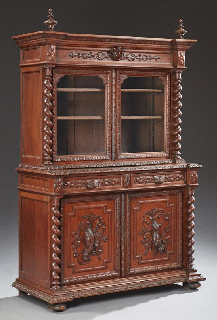 French Jacobean Style Carved Oak Buffet a Deux Corps,