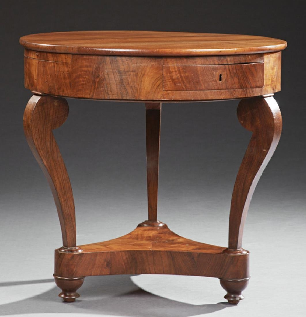 French Empire Style Carved Walnut Circular Table, 19th