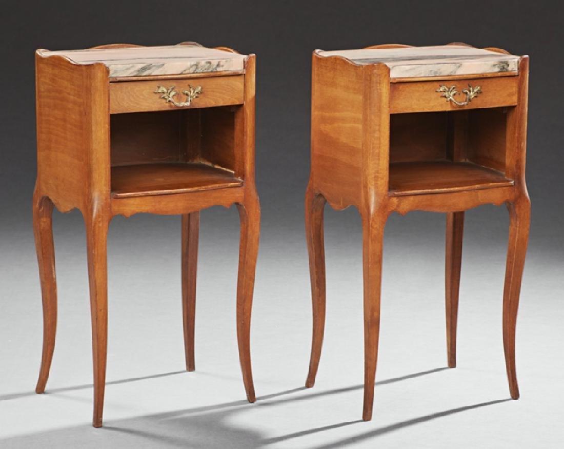 Pair of Louis XV Carved Beech Marble Top Nightstands,
