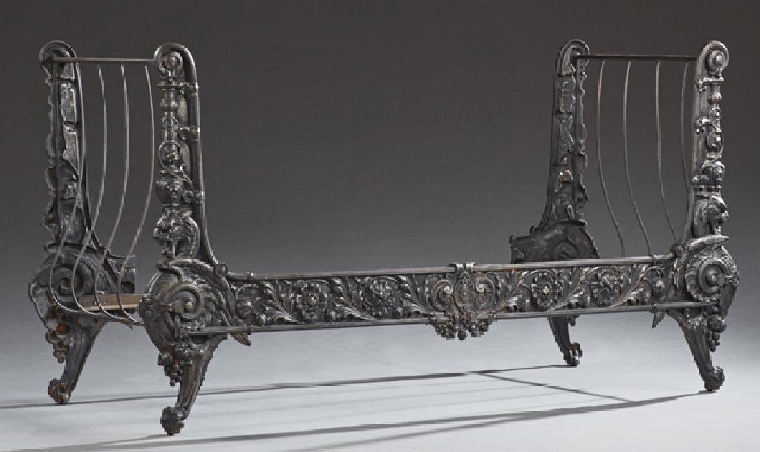 Cast Iron Continental Style Daybed, 20th c., the sleigh