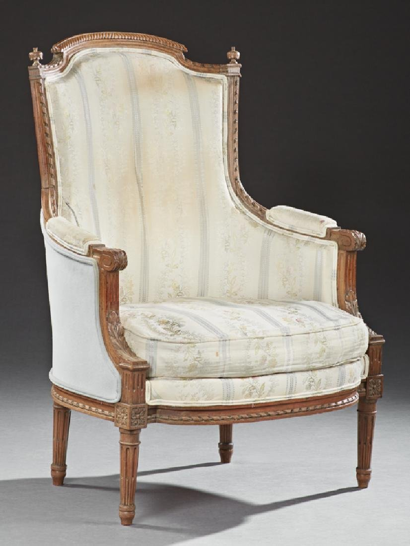 Louis XVI Style Carved Walnut Upholstered Bergere, 20th
