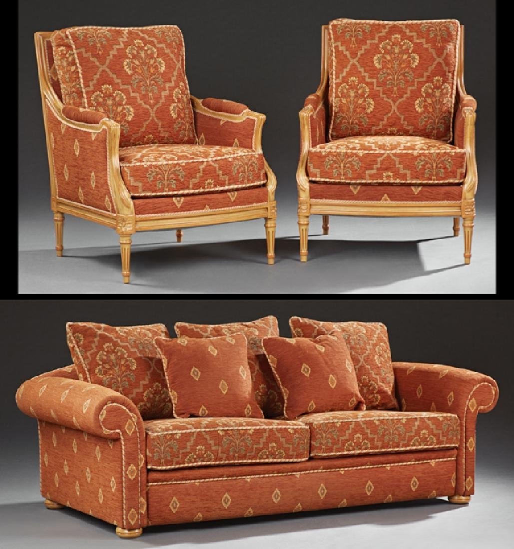 Three Piece Louis XVI Style Carved Beech Parlor Suite,