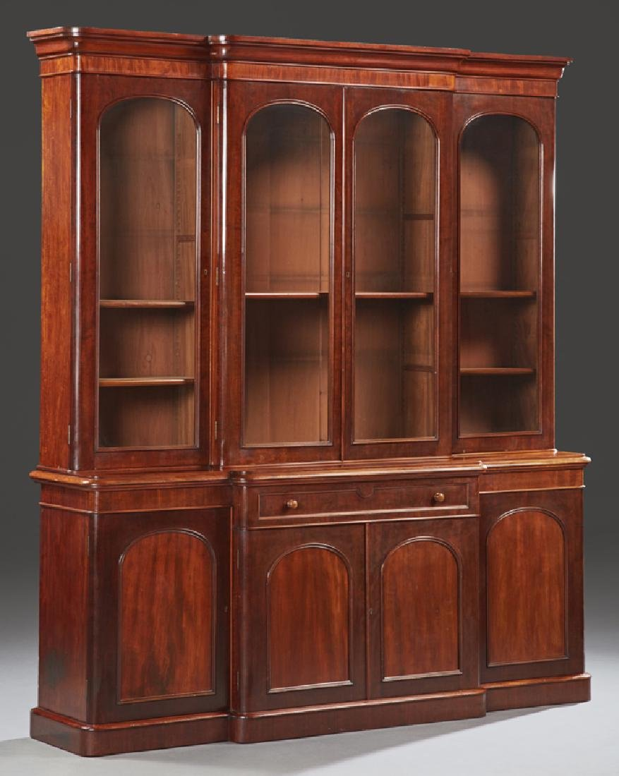 English Victorian Style Mahogany Bookcase Cupboard,