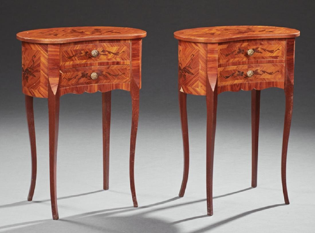 Pair of Louis XV Style Marquetry Inlaid Cherry