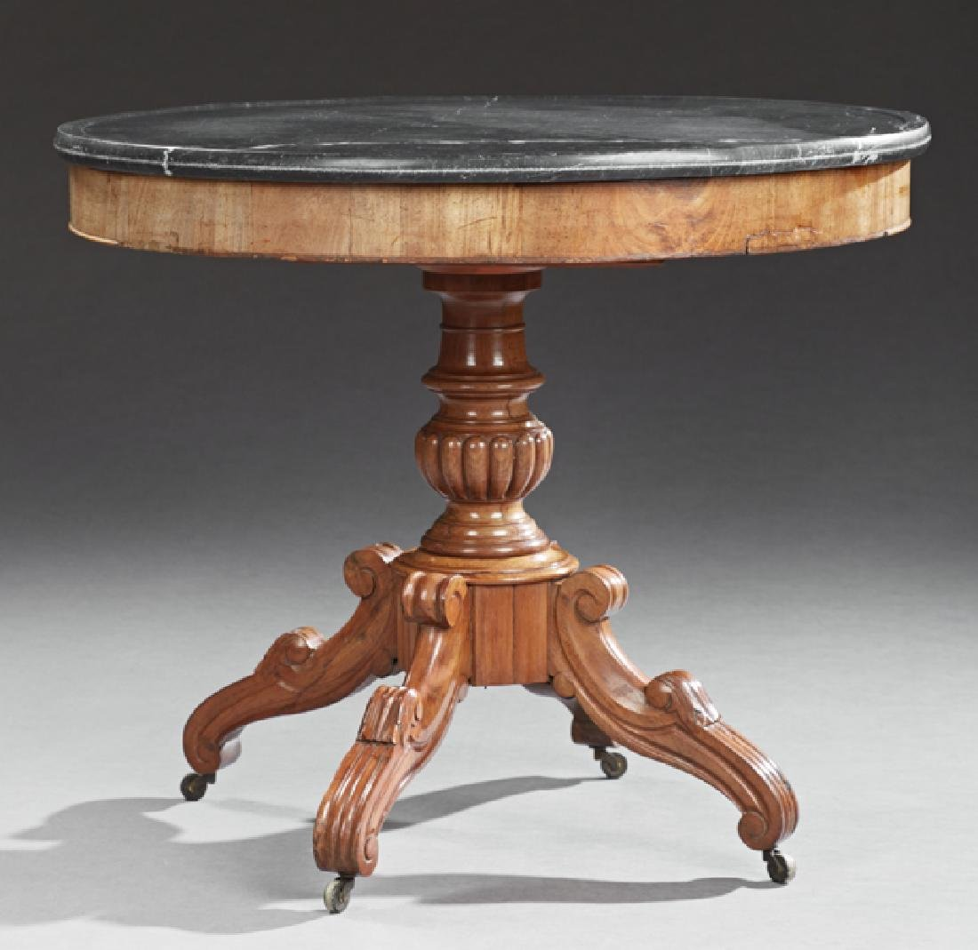 French Carved Mahogany Marble Top Center Table, c.