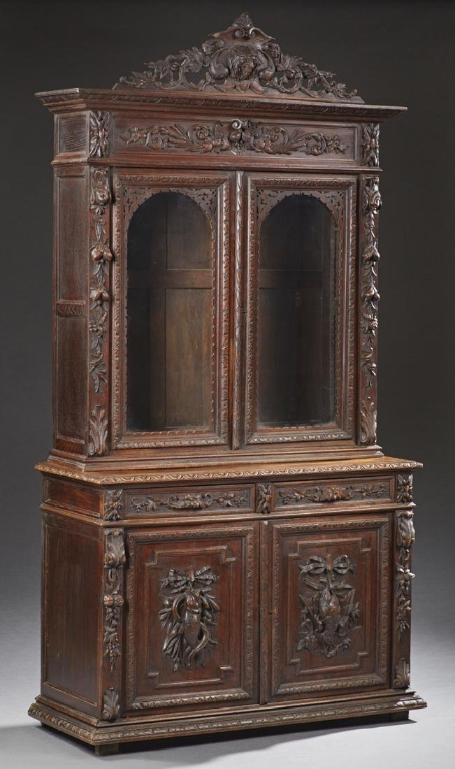 French Henri II Carved Oak Buffet a Deux Corps, 19th