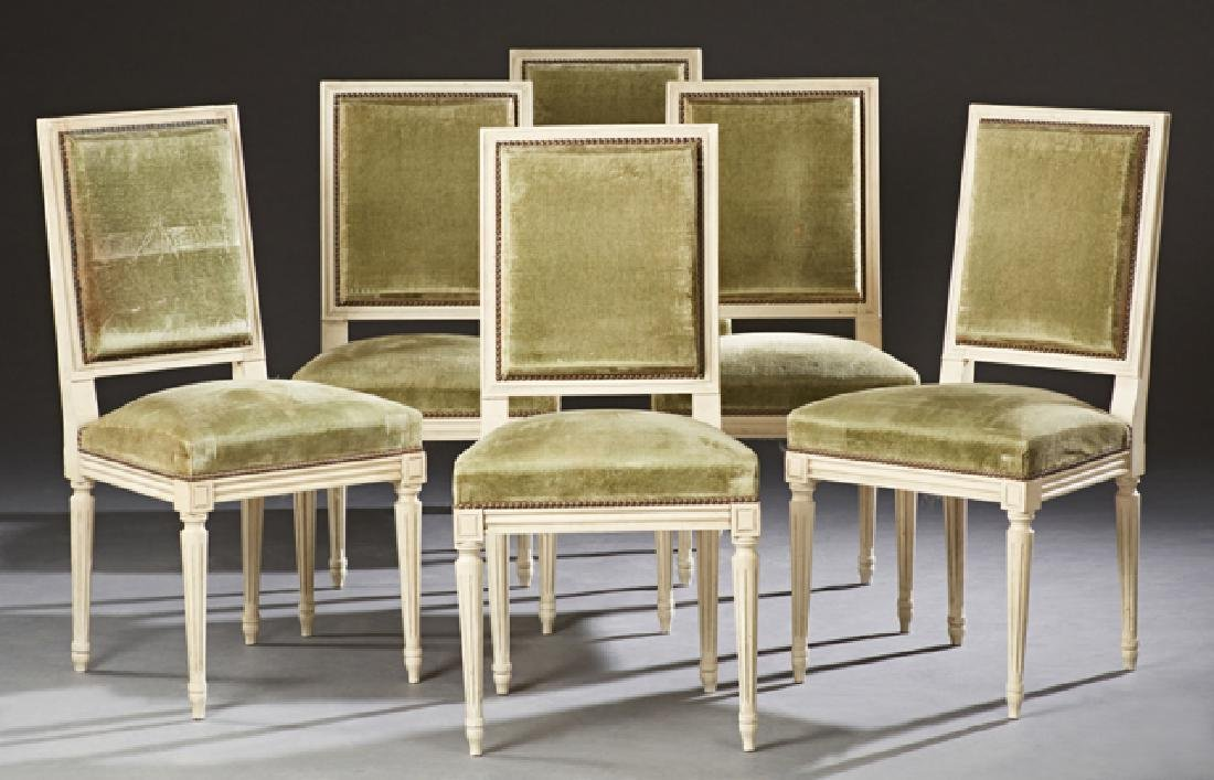 Set of Six French Louis XVI Style Polychromed Beech