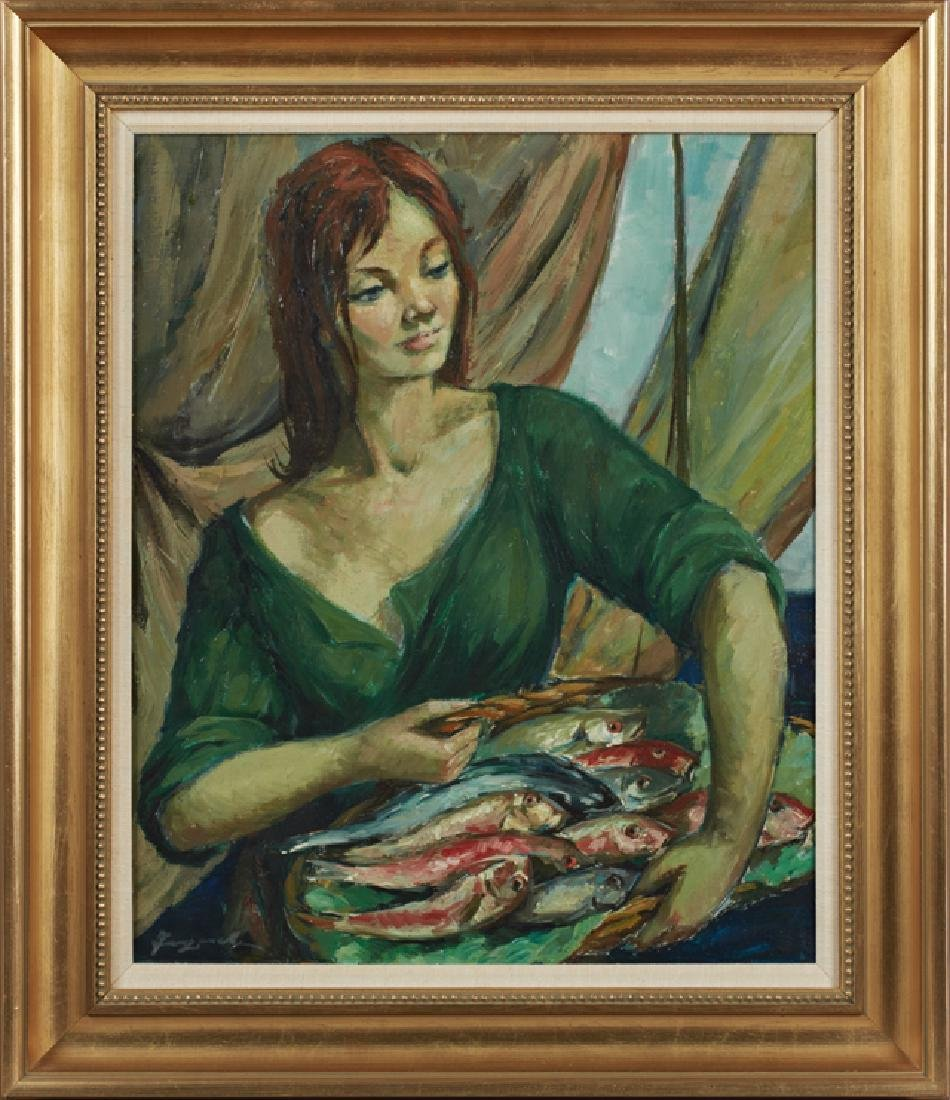 """Tangelli, """"The Fish Seller,' 20th c., oil on canvas,"""