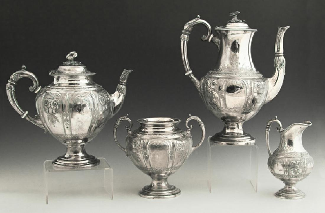 English Four Piece Silverplated Aesthetic Coffee Set,