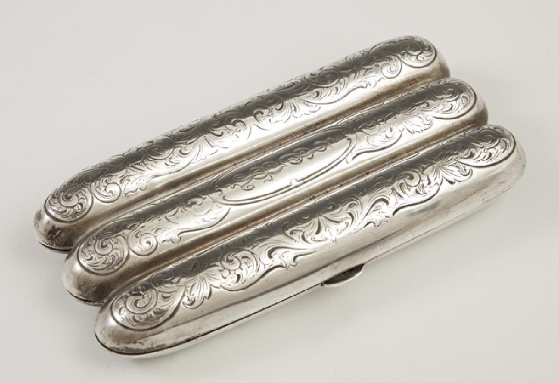 Sterling Three Finger Pocket Cigar Case, early 20th c.,