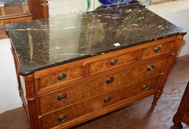 French Louis XVI Style Carved Elm Marble Top Commode, - 2