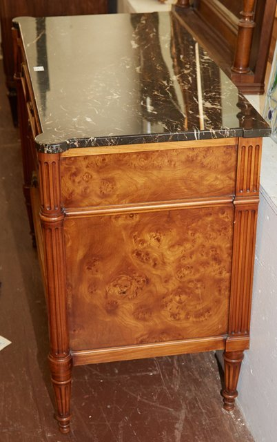 French Louis XVI Style Carved Elm Marble Top Commode, - 4