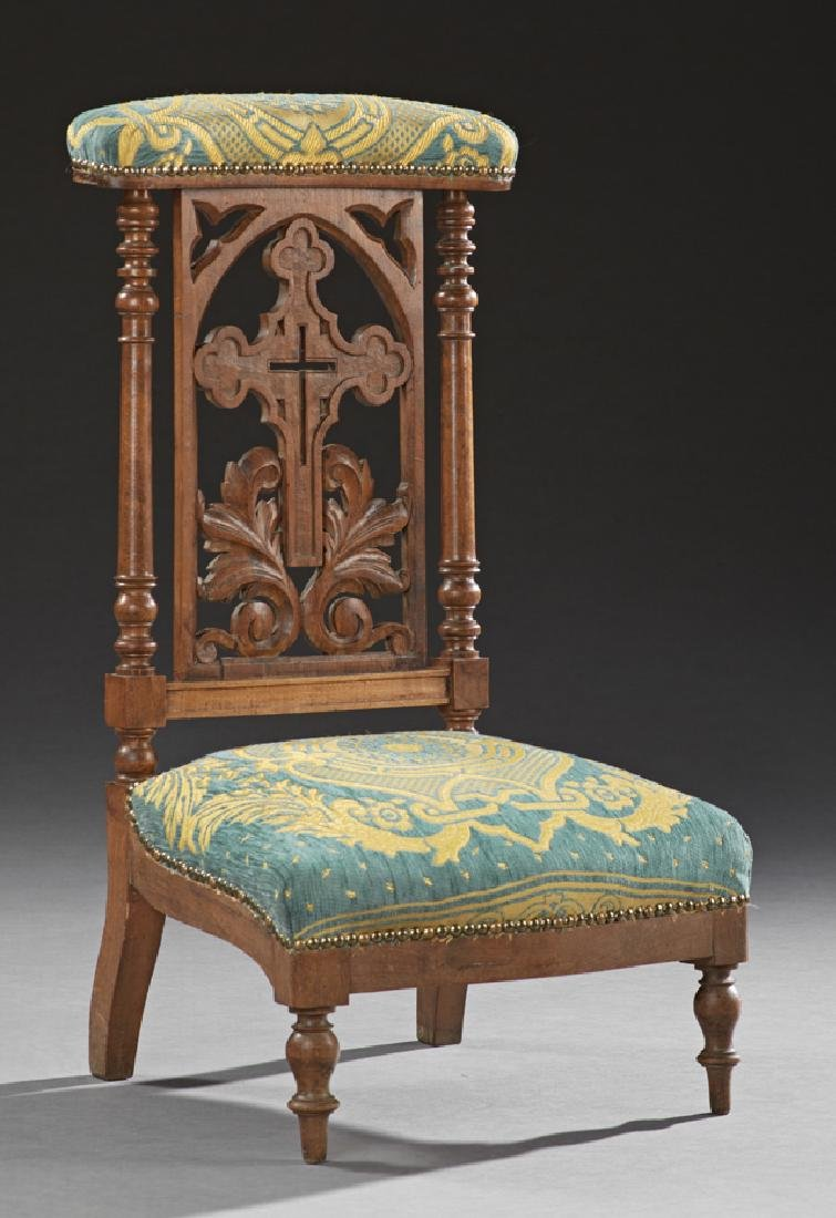 French Carved Walnut Prie Dieu, 19th c., the