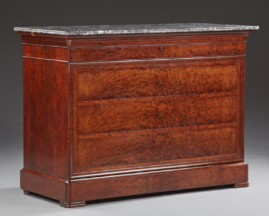 French Louis Philippe Style Carved Mahogany Marble Top