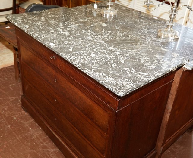 French Louis Philippe Style Carved Mahogany Marble Top - 3