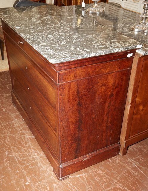 French Louis Philippe Style Carved Mahogany Marble Top - 4