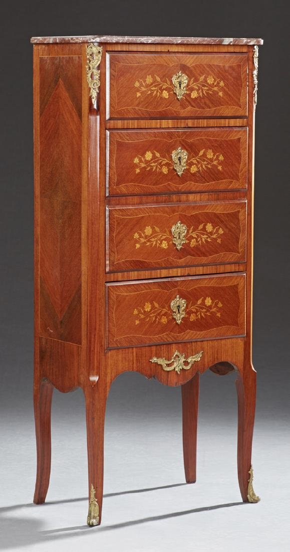 French Louis XV Style Ormolu Mounted Marquetry Inlaid