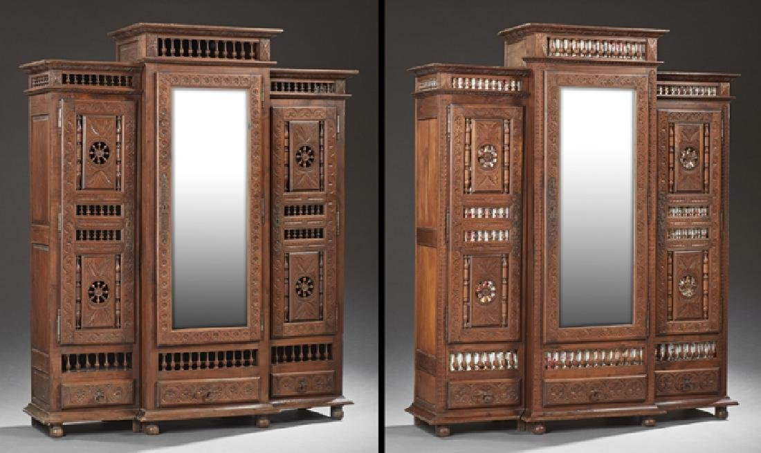 Rare Pair of French Provincial Carved Oak Armoires, c.