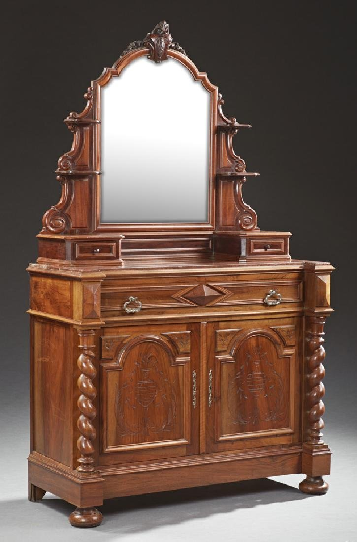 French Henri II Style Carved Walnut Marble Top Dresser,