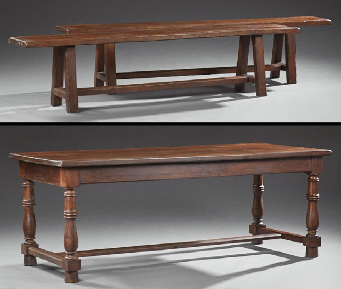 French Provincial Carved Oak Farmhouse Table, 19th c.,