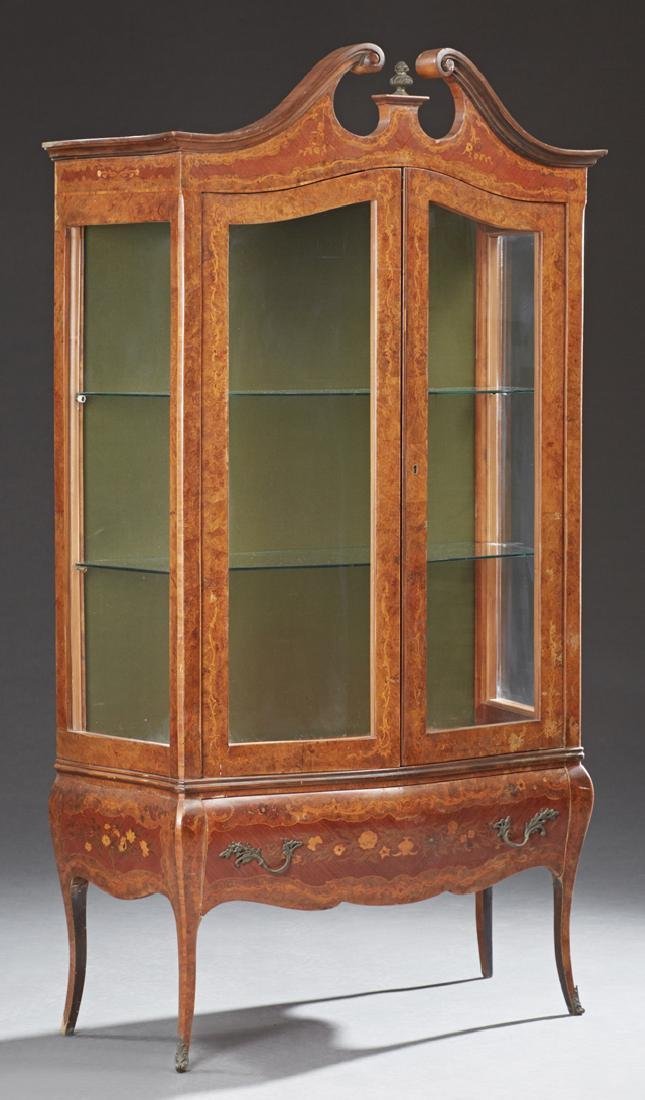 French Louis XV Style Marquetry Inlaid Walnut Bombe