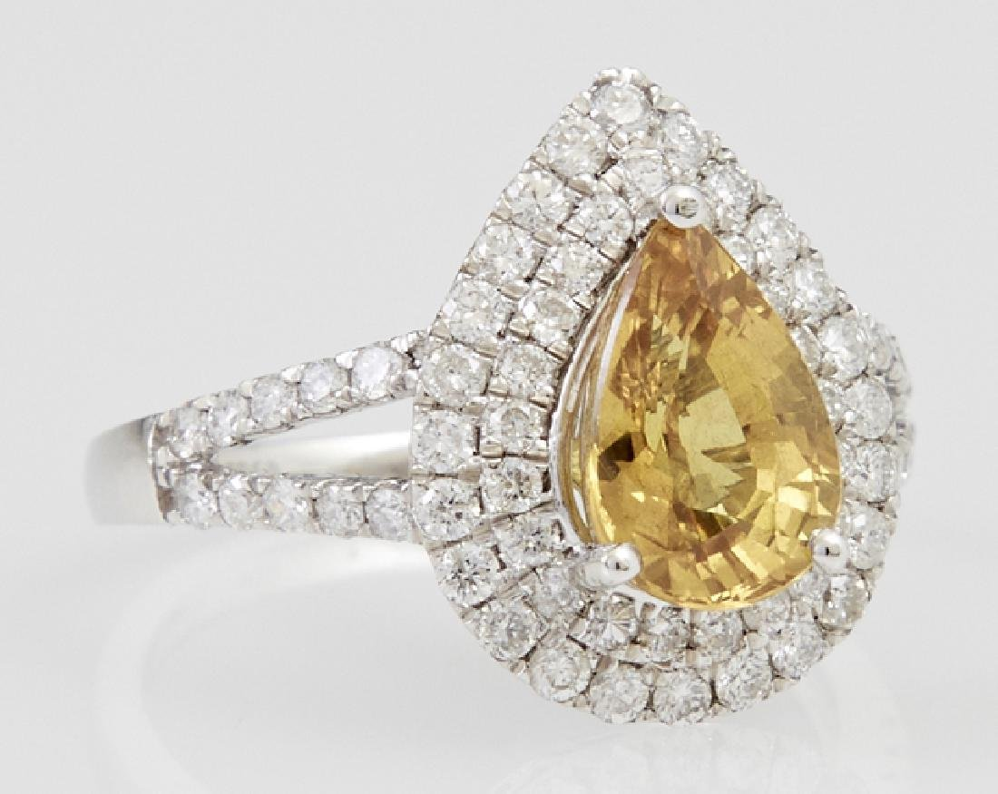 Lady's Platinum Dinner Ring, with a pear shaped 2.54