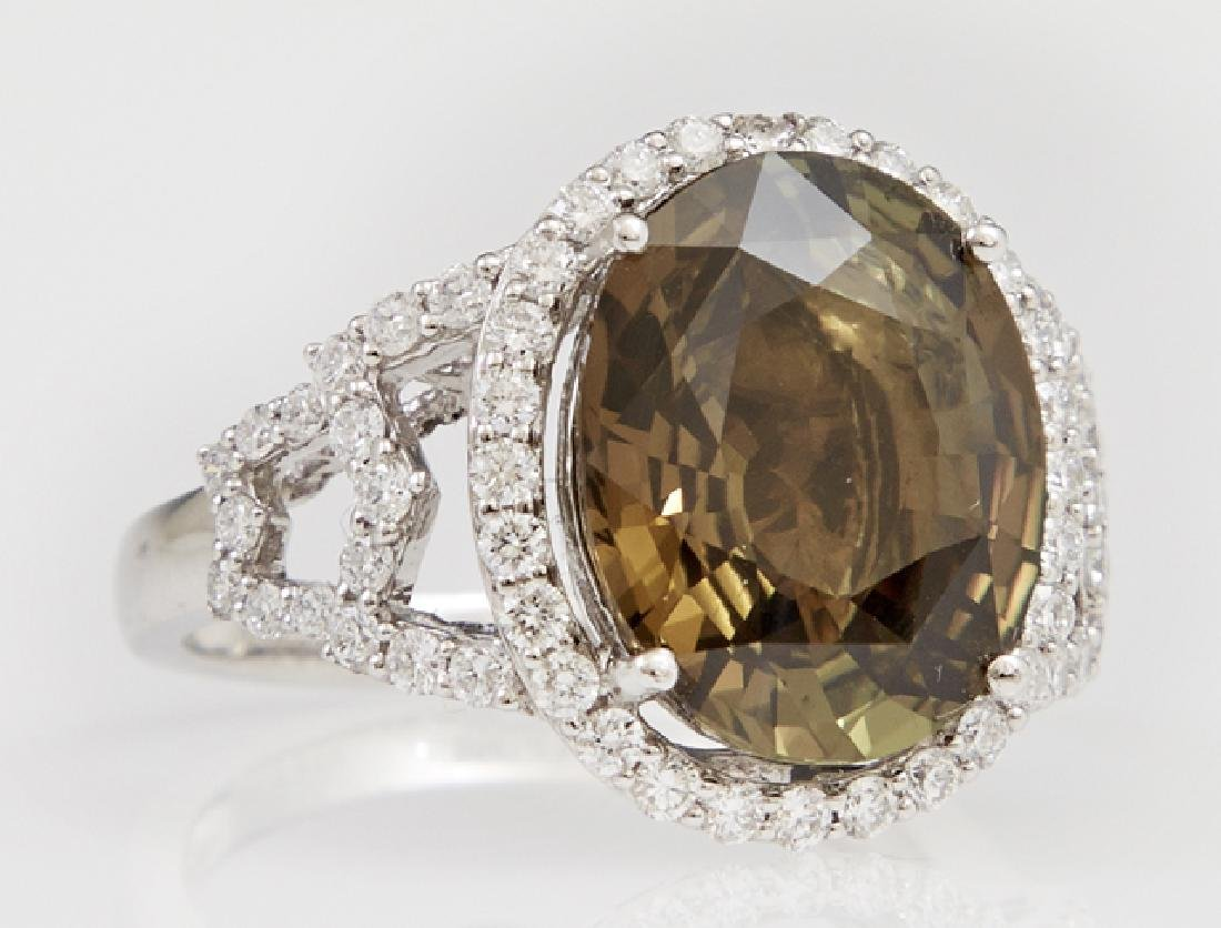Lady's Platinum Dinner Ring, with an oval 6.61 carat