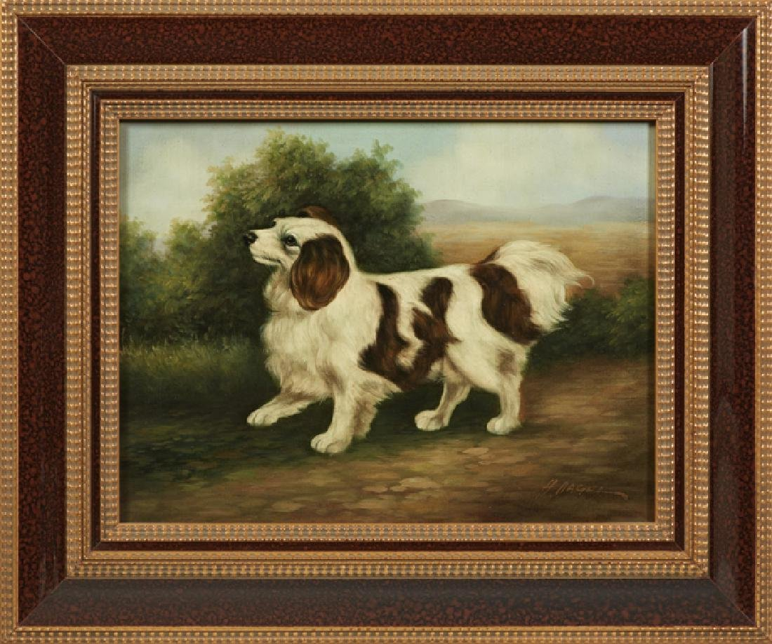 """Chinese School, """"King Charles Spaniel,"""" 20th c., oil on"""
