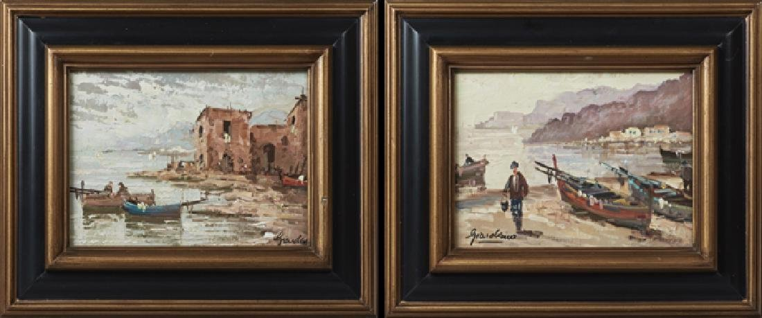 "Giordano, ""Harbor Scene,"" 20th c., pair of oils on"