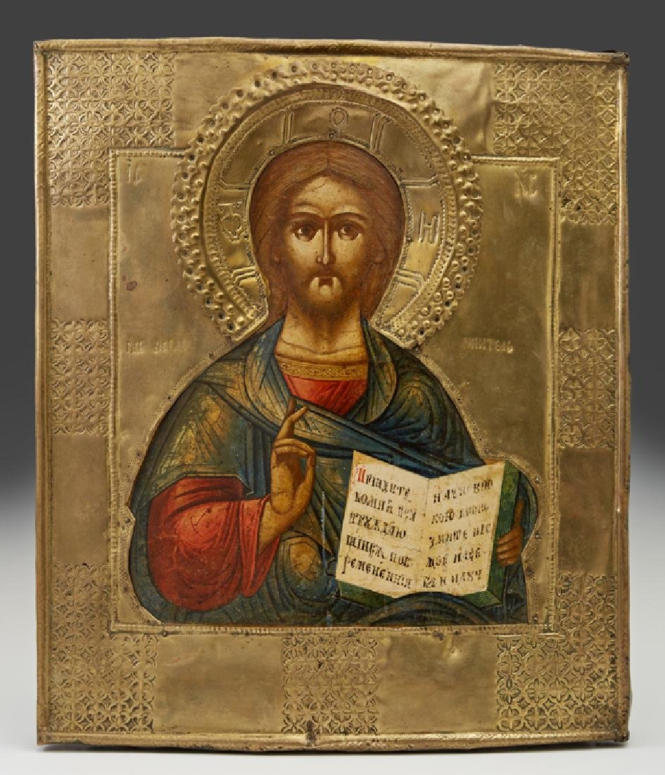 Russian Icon of Christ, 19th c., with a brass oklad, on
