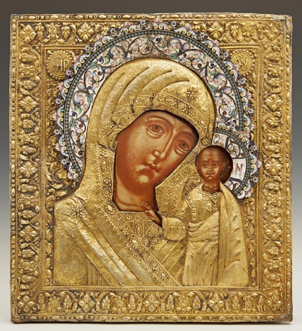 Russian Icon of the Virgin of Kazan, late 17th c.,